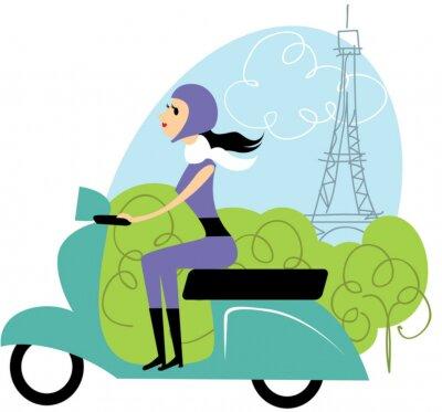 Fototapeta Dziewczyna Scooter w Paryżu