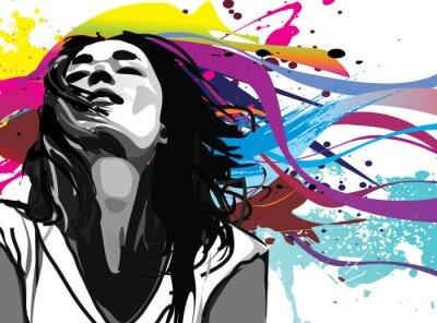 Fototapeta Dziewczyna z kolorowym tle Wektor powitalny