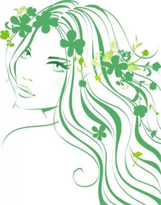 Fototapeta Dziewczyna z kwiatami we włosach