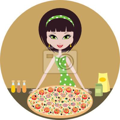 Dziewczyna z pizza.vector