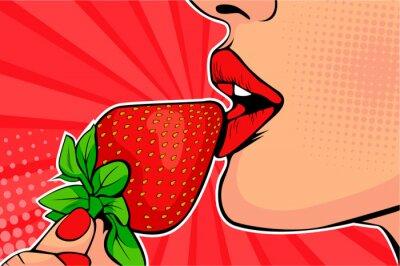 Fototapeta Dziewczyny z truskawkami. Kobieta jedzenie zdrowej żywności. Erotyczna fantazja. Ilustracja wektorowa w stylu retro komiks pop-artu.