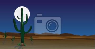 dzika pustynna scena z kaktusem