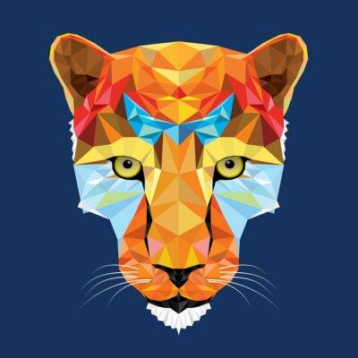 Fototapeta dziki kot lampart w geometryczny wzór, wektor