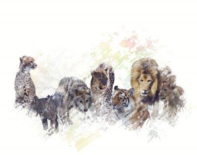Fototapeta Dzikie zwierzęta Akwarela
