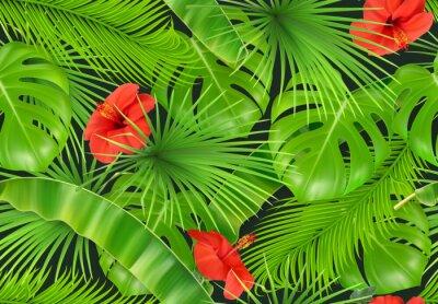 Fototapeta Dżungla liści bez szwu deseń. Wektor realistyczne tło 3d