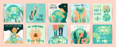 Fototapeta Earth Day. Save Nature. Vector templates for card, poster, banner, flyer