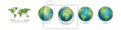 Fototapeta Earth Globes collection. Set of 3d earth globes with shadow. Travel around the world concept
