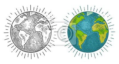 Fototapeta Earth planet. Vector color vintage engraving illustration