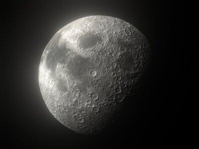 Fototapeta Earth's Moon Glowing On Black Background