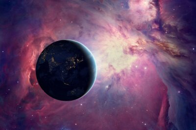 Fototapeta Earth sunrise with Orion nebula.