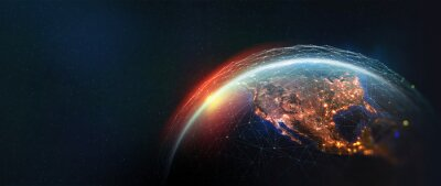 Fototapeta Earth view from space. Global network. Blockchain technology. Planet and communication. Future world 3D illustration. Elements of this image are furnished by NASA
