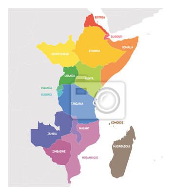 Fototapeta East Africa Region. Colorful map of countries in eastern Africa. Vector illustration