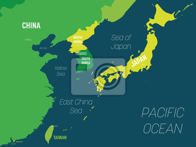 Fototapeta East Asia map - green hue colored on dark background. High detailed political map of eastern region with country, capital, ocean and sea names labeling