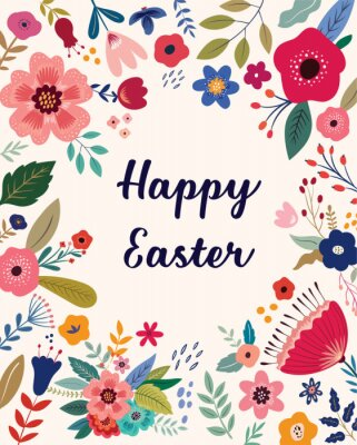 Fototapeta Easter greeting illustration with colorful spring flowers. Happy Easter template, invitation