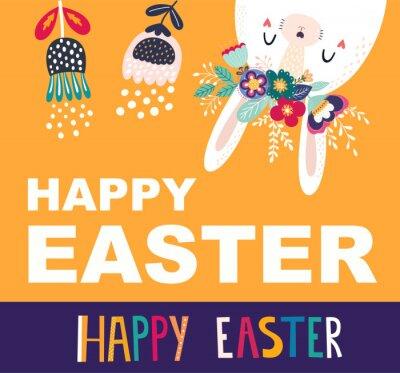 Fototapeta Easter vector illustration with cute bunny