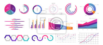 Fototapeta Editable Infographic Templates. Use in corporate report, marketing, annual report. Network management data screen with charts, diagrams. Hud vector interface