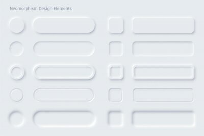 Fototapeta Editable neumorphic buttons set. Sliders for websites, mobile menu, navigation and apps. Simple elegant Neumorphism trendy design elements UI components isolated on light background.