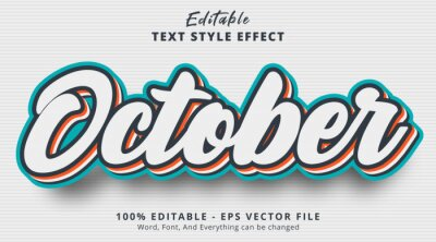 Fototapeta Editable text effect, October text with layered color combination style effect