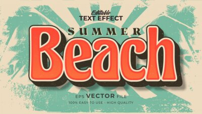 Fototapeta Editable text style effect - retro beach summer text in grunge style theme