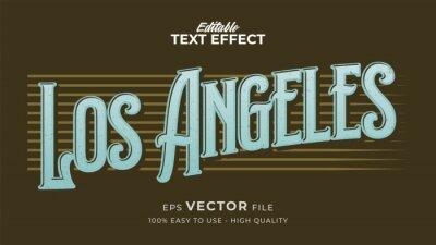 Fototapeta Editable text style effect - Retro Los Angeles text style theme