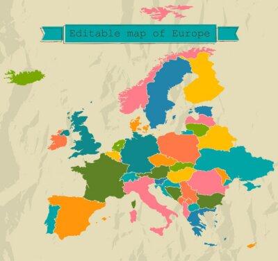 Fototapeta Edytowalne mapa Europy z wszystkich krajów.