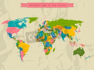 Fototapeta Edytowalne mapa świata z wszystkich państw.