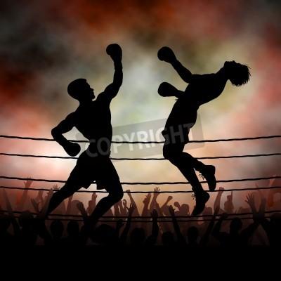 Fototapeta Edytowalne sylwetka wektora bokser wybijanie przeciwnika z hakiem dziurkowania z tła wykonane przy użyciu siatki gradientu