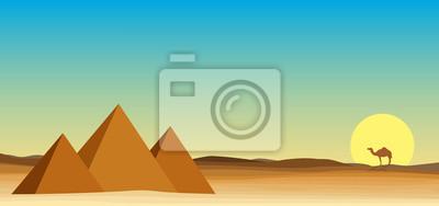 Egipt pustynia krajobraz z piramidy
