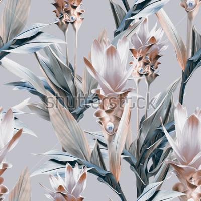 Fototapeta Egzotyczne kwiaty wzór. Artystyczne tło.