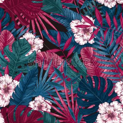 Fototapeta Egzotyczne liście i kwiaty wzór. Tropikalny kwiatowy tło. Ilustracji wektorowych