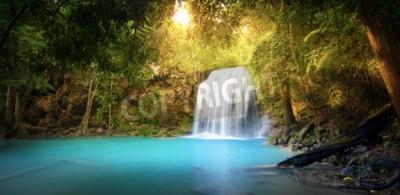 Fototapeta Egzotyczne tło pięknego lasu dżungli z majestatyczny wodospad wchodzących w błękitne wody jeziora i promienie słoneczne promienie świeci przez zielone liście tropikalnych roślin mrówek drzew. Panorama