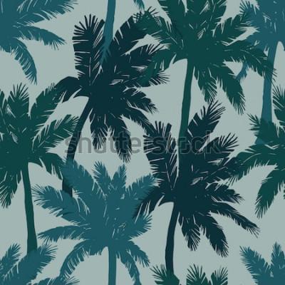 Fototapeta Egzotyczny bezszwowy wzór, zielone tropikalne drzewka palmowe, wektorowa ilustracja.