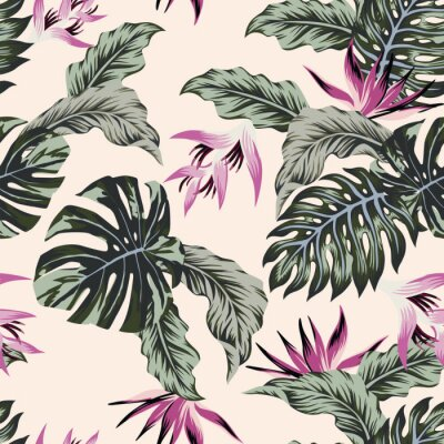Fototapeta Egzotycznych kwiatów tropikalnych liści zielony bezszwowy światło - różowy tło