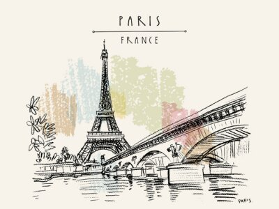 Fototapeta Eiffel Tower in Paris, France. Vintage hand drawn touristic postcard