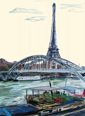 Fototapeta Eiffel Tower, Paris illustration