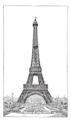 Fototapeta Eiffel Tower, wychowany przez inżyniera Gustawa Eiffla, vintage