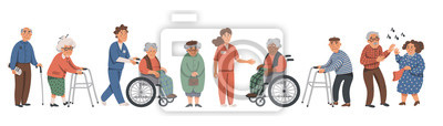 Fototapeta Elderly people and social workers. Grandparents and nurses on a white background. Vector illustration in a flat style.