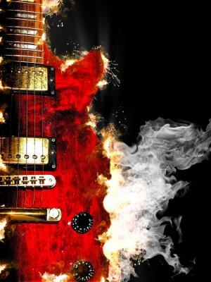 Fototapeta electric guitar burning in fire