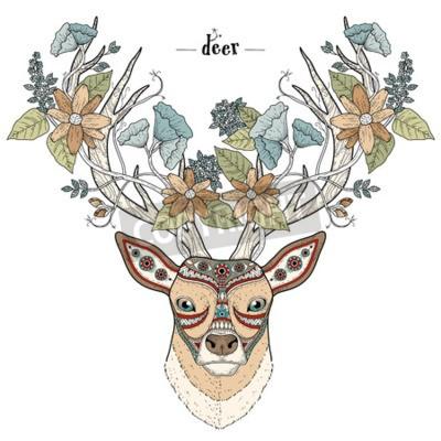 Fototapeta Elegancka jelenia głowy w kolorowy wystrój