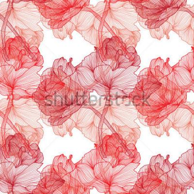 Fototapeta Elegancki wzór z ręcznie dekorowanymi kwiatami róży, elementy projektu. Kwiatowy wzór na przyjęcia ślubne, kartki okolicznościowe, scrapbooking, druk, opakowanie na prezent, produkcja.
