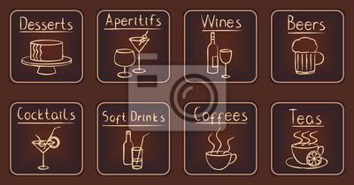 Eleganckie brązowe restauracji podobne ikony ustaw 2