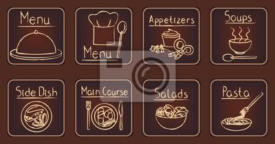 Eleganckie brązowe restauracji związanych zestaw ikon 1