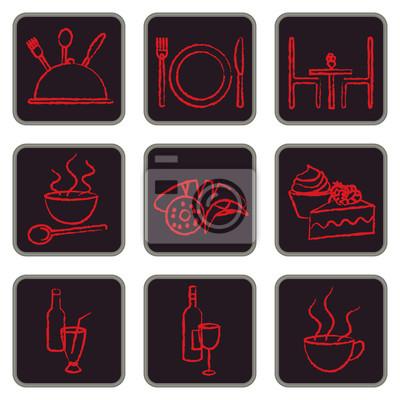 Eleganckie czerwone i czarne restauracji podobne ikony