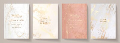 Fototapeta Elegant marble texture set. Luxury vector background collection with white, pink, gold pattern for cover, invitation template, wedding card, menu design, note book design