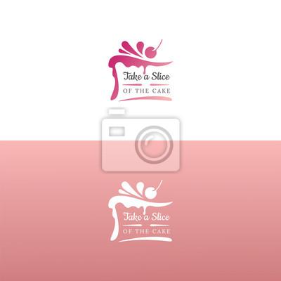 Fototapeta Elegant tasty cake logo design. Vector image.