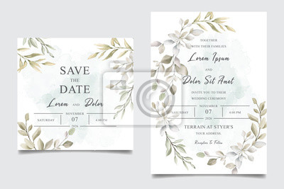 Elegant Watercolor Wedding Invitation Card With Greenery Leaves Fototapety Redro