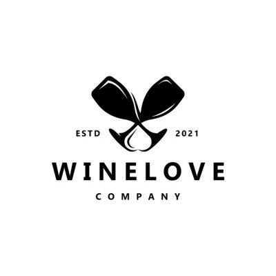 Fototapeta elegant wine with love logo design inspiration