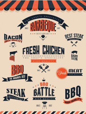 Fototapeta Elementy BBQ Grill i etykiety