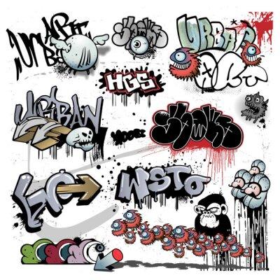 Fototapeta Elementy miejskiego sztuki graffiti,