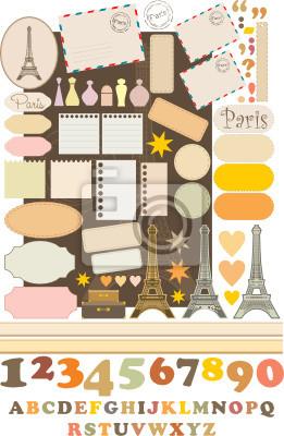 Elementy Scrapbook z Tour d'Eiffel. wektor